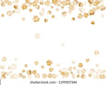 Gold seashells vector, golden pearl bivalved mollusks. Aquarium scallop, bivalve pearl shell, marine mollusk isolated on white wild life nature background. Trendy gold sea shell vector.