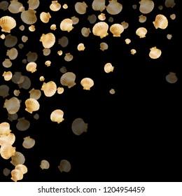 Gold seashells vector, golden pearl bivalved mollusks. Aquarium scallop, bivalve pearl shell, marine mollusk isolated on black wild life nature background. Trendy gold sea shell graphics.