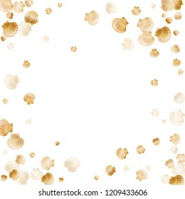 Gold seashells vector, golden pearl bivalved mollusks. Cartoon scallop, bivalve pearl shell, marine mollusk isolated on white wild life nature background. Chic gold sea shell design.
