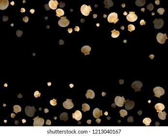 Gold seashells vector, golden pearl bivalved mollusks. Aquarium scallop, bivalve pearl shell, marine mollusk isolated on black wild life nature background. Chic gold sea shell design.