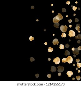 Gold seashells vector, golden pearl bivalved mollusks. Exotic scallop, bivalve pearl shell, marine mollusk isolated on black wild life nature background. Cool gold sea shell vector.