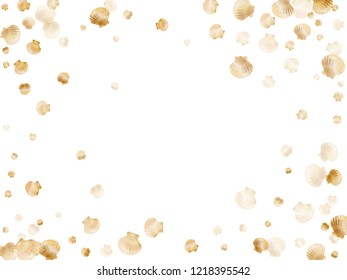 Gold seashells vector, golden pearl bivalved mollusks. Oceanic scallop, bivalve pearl shell, marine mollusk isolated on white wild life nature background. Stylish gold sea shell vector.