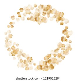 Gold seashells vector, golden pearl bivalved mollusks. Cute scallop, bivalve pearl shell, marine mollusk isolated on white wild life nature background. Cool gold sea shell design.