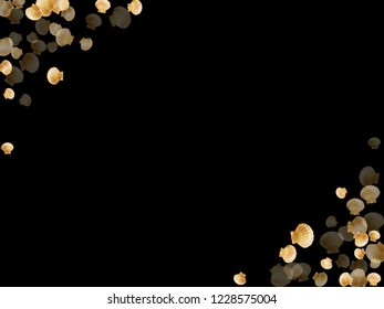 Gold seashells vector, golden pearl bivalved mollusks. Oceanic scallop, bivalve pearl shell, marine mollusk isolated on black wild life nature background. Chic gold sea shell vector.