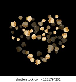 Gold seashells vector, golden pearl bivalved mollusks. Underwater scallop, bivalve pearl shell, marine mollusk isolated on black wild life nature background. Stylish gold sea shell vector.