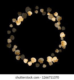 Gold seashells vector, golden pearl bivalved mollusks. Macro scallop, bivalve pearl shell, marine mollusk isolated on black wild life nature background. Stylish gold sea shell graphics.