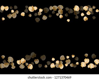 Gold seashells vector, golden pearl bivalved mollusks. Aquarium scallop, bivalve pearl shell, marine mollusk isolated on black wild life nature background. Rich gold sea shell design.