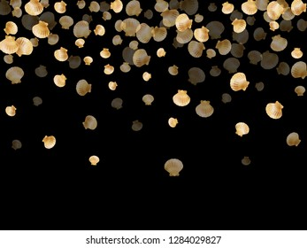 Gold seashells vector, golden pearl bivalved mollusks. Oceanic scallop, bivalve pearl shell, marine mollusk isolated on black wild life nature background. Stylish gold sea shell design.