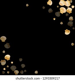 Gold seashells vector, golden pearl bivalved mollusks. Aquarium scallop, bivalve pearl shell, marine mollusk isolated on black wild life nature background. Stylish gold sea shell vector.