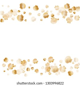 Gold seashells vector, golden pearl bivalved mollusks. Cartoon scallop, bivalve pearl shell, marine mollusk isolated on white wild life nature background. Stylish gold sea shell illustration.
