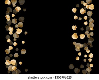 Gold seashells vector, golden pearl bivalved mollusks. Exotic scallop, bivalve pearl shell, marine mollusk isolated on black wild life nature background. Cool gold sea shell graphics.