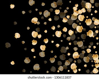Gold seashells vector, golden pearl bivalved mollusks. Sea scallop, bivalve pearl shell, marine mollusk isolated on black wild life nature background. Trendy gold sea shell vector.