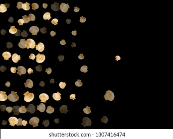 Gold seashells vector, golden pearl bivalved mollusks. Exotic scallop, bivalve pearl shell, marine mollusk isolated on black wild life nature background. Stylish gold sea shell graphics.