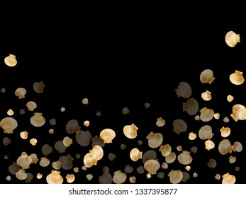 Gold seashells vector, golden pearl bivalved mollusks. Sea scallop, bivalve pearl shell, marine mollusk isolated on black wild life nature background. Trendy gold sea shell illustration.
