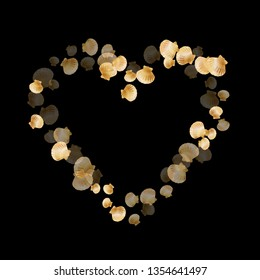 Gold seashells vector, golden pearl bivalved mollusks. Sea scallop, bivalve pearl shell, marine mollusk isolated on black wild life nature background. Trendy gold sea shell vector.