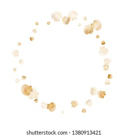 Gold seashells vector, golden pearl bivalved mollusks. Sea scallop, bivalve pearl shell, marine mollusk isolated on white wild life nature background. Cool gold sea shell illustration.