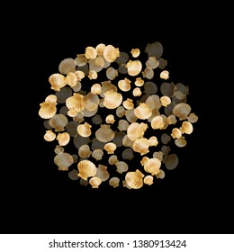 Gold seashells vector, golden pearl bivalved mollusks. Cute scallop, bivalve pearl shell, marine mollusk isolated on black wild life nature background. Stylish gold sea shell vector.