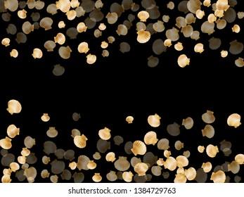 Gold seashells vector, golden pearl bivalved mollusks. Cartoon scallop, bivalve pearl shell, marine mollusk isolated on black wild life nature background. Trendy gold sea shell illustration.