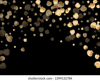 Gold seashells vector, golden pearl bivalved mollusks. Ocean scallop, bivalve pearl shell, marine mollusk isolated on black wild life nature background. Trendy gold sea shell graphics.