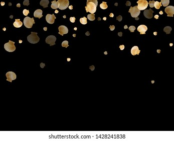 Gold seashells vector, golden pearl bivalved mollusks. Underwater scallop, bivalve pearl shell, marine mollusk isolated on black wild life nature background. Chic gold sea shell vector.