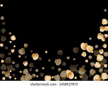 Gold seashells vector, golden pearl bivalved mollusks. Sea scallop, bivalve pearl shell, marine mollusk isolated on black wild life nature background. Rich gold sea shell vector.