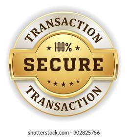 Gold secure transaction  badge on white background