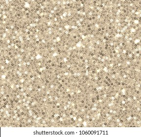 Gold sequins seamless pattern on beige background.