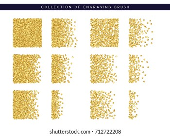 Gold sequins texture. Set Brush stipple pattern for design.