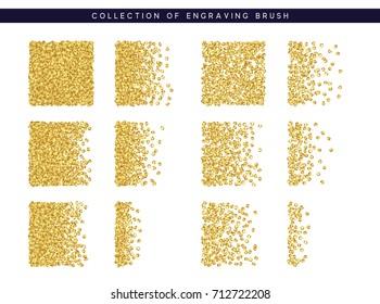 Gold sequins texture. Set Brush stipple pattern for design.