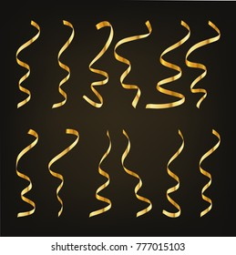 Gold serpentine or confetti on black background. Vector illustration. Set of festive ribbon serpentine.