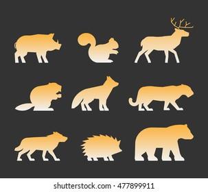 Gold set of figures of wild animals. Silhouettes wild animals isolated on white. Black wild animals. Shape boar, squirrels, deer, beaver, fox, puma, wolf, hedgehog and bear.