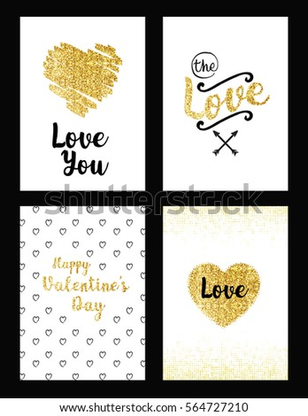 Gold Set Valentines Day Save Date Stock Vector Royalty Free