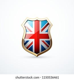 Gold shield with Great Britain flag elements. Great Britain shield icon. Vector illustration