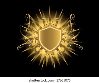Gold shield with halo - vector version