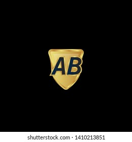 Gold shield with letter AB – Vintage luxury logo with the letter AB, Can be used for celebrations, anniversaries. Logo for your company. Victory logo for bussines. gold color