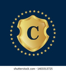 Gold shield with letter C – Vintage luxury logo with the letter C, Can be used for celebrations, anniversaries. Logo for your company. Victory logo for bussines. gold color