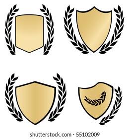 Gold shields and black laurels. Vector illustration