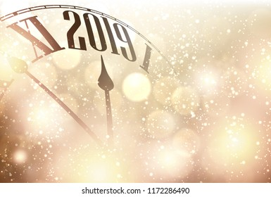 Gold shining bokeh 2019 New Year background with clock. Beautiful Christmas greeting card. Vector illustration.
