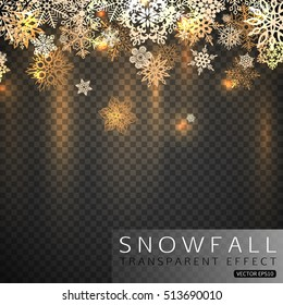 Gold shining Christmas snowflakes vector illustration.