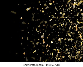 Gold shining confetti flying on black holiday vector graphic design. Glamour flying tinsel elements, gold foil gradient serpentine streamers confetti falling christmas background.