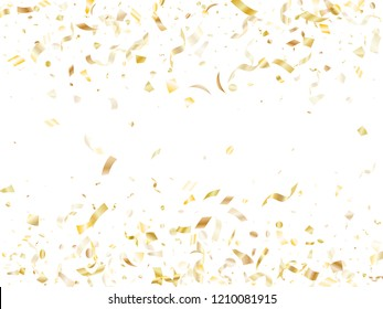 Gold shining confetti flying on white holiday card background. Creative flying tinsel elements, gold foil gradient serpentine streamers confetti falling christmas vector.