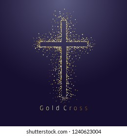 Gold shining cross logotype. Emblem of religious event. Greeting card with glitter and sparkles on dark night background. Isolated tradition glorious miracle symbol, abstract graphic design template.