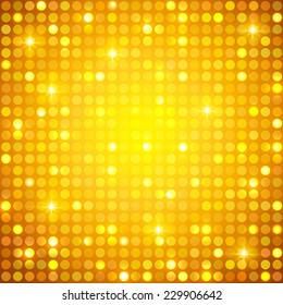 Gold shining dots background. Network concept. Vector illustration for graphic design.