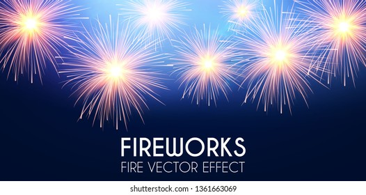 Gold Shining Fireworks in Soft Blue Sky. Congradulations and Win. Vector illustration