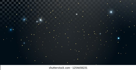 Gold shining particles on transparent background. Holiday vector illustration. Sparkling lights, stars, confetti.