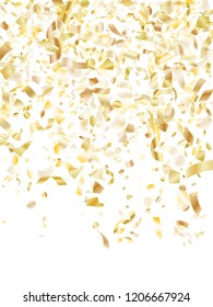 Gold shining realistic confetti flying on white holiday vector backdrop. Cool flying sparkle elements, gold foil gradient serpentine streamers confetti falling christmas vector.