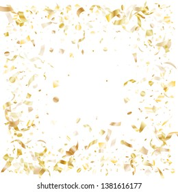 Gold shining realistic confetti flying on white holiday vector background. Creative flying tinsel elements, gold foil texture serpentine streamers confetti falling christmas background.