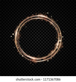 Gold shining round banner. Golden circle. Copper lights effects. Sparkle ring frame on black background. Bronze vector illustration