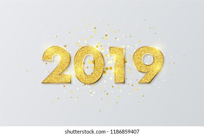 Gold shiny 2019 New Year sign on white. Festive decoration. Vector background.