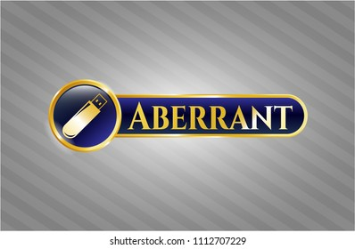 Gold shiny badg Gold emblem with flash drive icon and Aberrant text insidee with flash drive icon and Aberrant text inside